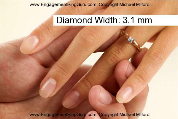 Actual 0.17 Carat Princess Shape Diamond Size on Hand